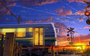 Picture wire, train, train, characters, sunrise, the barrier, moving, the light in the Windows, blue sky, …
