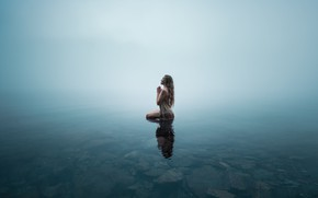 Picture girl, lake, shore
