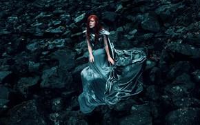 Picture girl, style, stones, dress, fantasy, image, sitting, Princess, photoart, Kindra Nikole, Jessica Dru Johnson