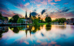 Picture the sky, the sun, clouds, trees, sunset, river, home, Netherlands, Delft