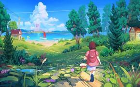 Picture landscape, girl, child