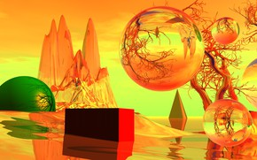 Picture landscape, rock, balls