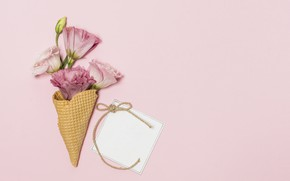 Picture flowers, background, pink, bouquet, pink, eustoma, waffle cone