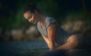 Picture woman, young, water, bath, brunette, swimsuit, piercing, Elilith Noir