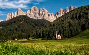 Picture landscape, mountains, nature, village, Italy, Church, forest, meadows, The Dolomites