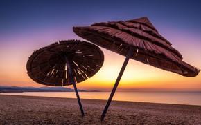 Picture sea, beach, sunset, shore, umbrellas