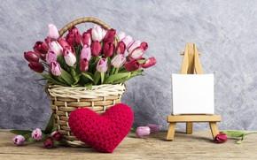 Wallpaper love, flowers, heart, tulips, love, pink, basket, vintage, heart, wood, pink, flowers, beautiful, romantic, tulips