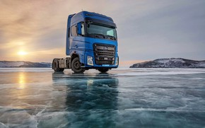 Picture ice, sunset, Ford Trucks, Ford F-Max, Baikal Lake