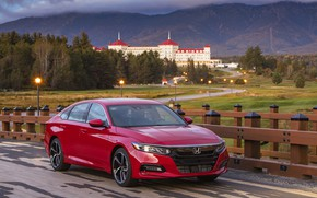 Picture red, the fence, Honda, Accord, sedan, 2018, four-door, 2.0T Sport