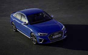 Picture asphalt, blue, Audi, sedan, Audi A4, Audi S4, 2019