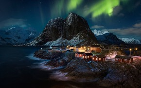 Picture mountains, night, home, Northern lights, village, Norway, Norway, the fjord, The Lofoten Islands, Lofoten, Hamnøy, …