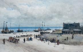 Picture figure, watercolor, The beach in Scheveningen, Johannes Bosboom, Johannes Bosboom