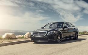 Picture Mercedes, Coast, AMG, Black, Sea, W222, S63