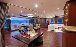 Picture interior, yacht, salon, dining room, superyacht, Benetti fb-801-m
