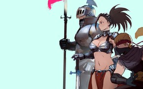 Picture girl, sword, armor, anime, weapons, digital art, warrior, fantasy art, knight, pearls, spear, simple background, …
