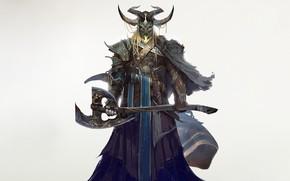 Picture Fantasy, Mythology, Art, Warrior, Viking, Minimalism, Soldier, Mask, Characters, Armor, Axe, Gianluca Rolli, HEIMDALLR - ...