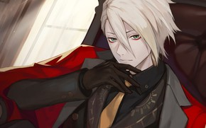 Picture window, costume, gloves, guy, Fate - Apocrypha, Red Lancer, Fate Apocrypha