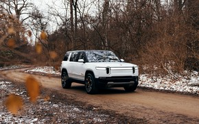 Picture road, forest, white, SUV, 2019, Rivian, R1S