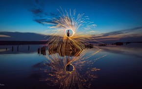 Picture water, reflection, night, mood, fire, the atmosphere, People, fireshow, Virchow