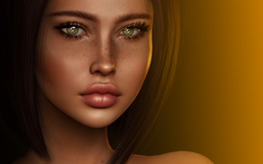 Picture girl, face, rendering, hair, cutie