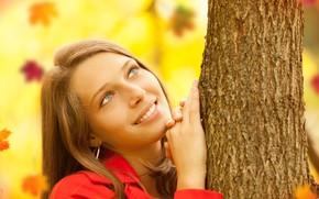 Picture portrait, pose, background, brown hair, smile, leaves, hairstyle, makeup, tree, beautiful, in red, autumn