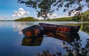 Picture lake, boats, Finland, Karijarve