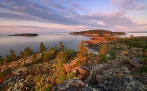 Picture forest, sunset, mountains, stones, vegetation, island, Kolyma, Maxim Evdokimov, the lake of Jack London