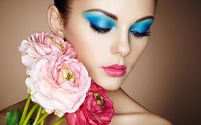 Picture girl, flowers, face, makeup, Oleg Gekman