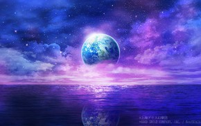Picture water, space, fiction, planet, Earth, Touhou Project, Project East