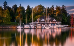 Picture forest, house, reflection, shore, boats, pier, pond
