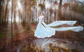 Picture autumn, forest, girl, rays, light, trees, landscape, nature, pose, lake, style, Park, reflection, white, hands, …