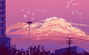 Picture the sky, birds, the city, constellation