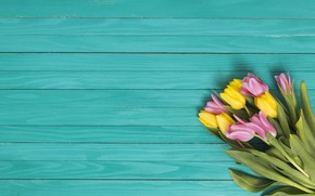 Picture yellow, green, background, pink, bouquet, tulips, wood