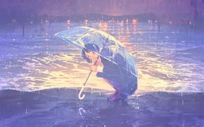 Picture sea, girl, rain, umbrella