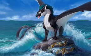 Picture rock, the ocean, dragon