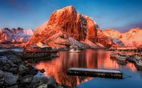 Picture mountains, ships, village, port, Norway, Norway, the fjord, Lofoten, The Lofoten Islands, Lofoten, Hamnøy, Hamnøy, …