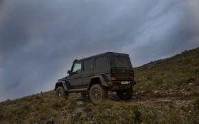 Picture overcast, black, Mercedes-Benz, slope, SUV, 4x4, G500, G-Class, 2015, G 500, 4x4², V8 biturbo