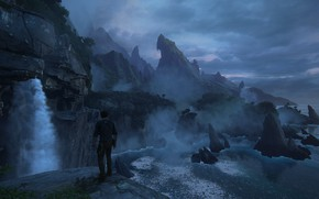 Picture rocks, dawn, island, jungle, Naughty Dog, Playstation 4, Uncharted 4: A Thief's End, Nathan Drake