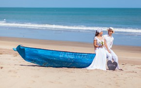 Picture sand, boat, pair, the bride, the groom