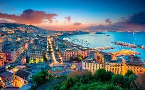 Picture sea, lights, Italy, Naples, Piazza Sannazaro
