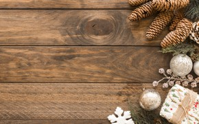 Wallpaper decoration, balls, New Year, Christmas, Christmas, balls, wood, New Year, gift, decoration, Merry