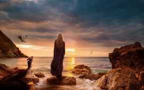 Picture sea, fiction, dragons, art, fantasy, sea, art, Game of Thrones, Game of thrones, Daenerys Targaryen, …