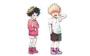 Picture children, white background, Boku no Hero Academy, My Hero Academia, Midori Isuku, My heroic academia, …