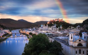 Picture landscape, mountains, the city, river, building, home, rainbow, Austria, bridges, Salzburg, Fabian Vogl