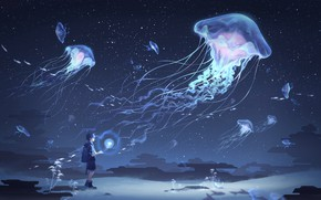 Picture the sky, boy, jellyfish