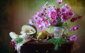 Picture flowers, fabric, pitcher, fruit, still life, pear, table, burlap, melon, kosmeya, Мила Миронова