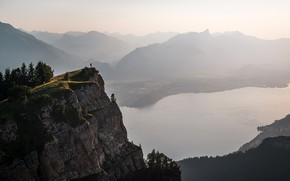 Picture trees, mountains, river, rocks, people, height, Switzerland, panorama, haze, Low horn