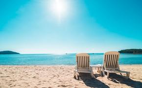 Picture sand, sea, beach, summer, the sky, the sun, shore, chaise, summer, beach, sea, seascape, beautiful, …