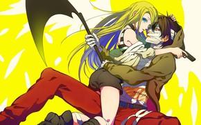 Picture girl, hugs, guy, bandages, yellow background, Angel bloodshed, Satsuriku no Tenshi, Zach