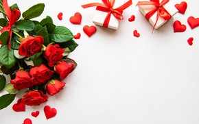 Picture holiday, roses, gifts, hearts, Valentine's Day